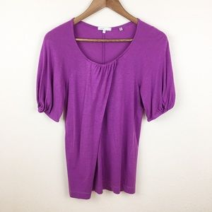 Vince Gathered Sleeve Wrap Front Shirt